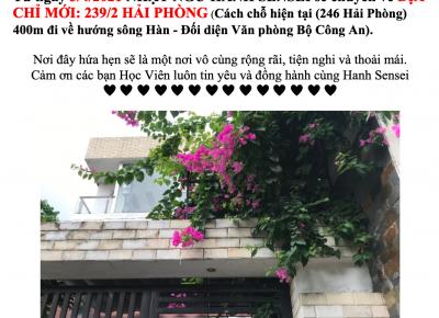 NHẬT NGỮ HANHSENSEI THÔNG BÁO CHUYỂN ĐỊA CHỈ -239/2 HẢI PHÒNG